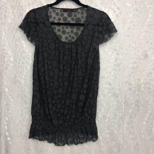 The Limited dark gray semi sheer polka dott top Sm